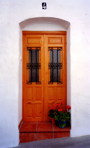 Front door of my village house to rent for holidays in Torrox, Andalucia