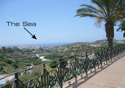 Torrox village, the view to the sea